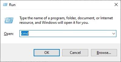 Open run to start command prompt