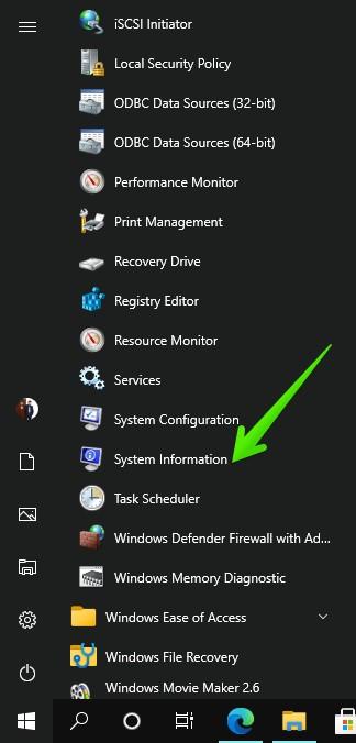 Open up system information from Windows start menu.